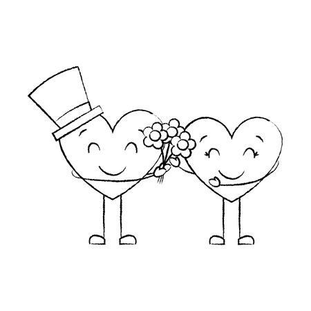 couple hearts love hoding bouquet flowers vector illustration sketch image