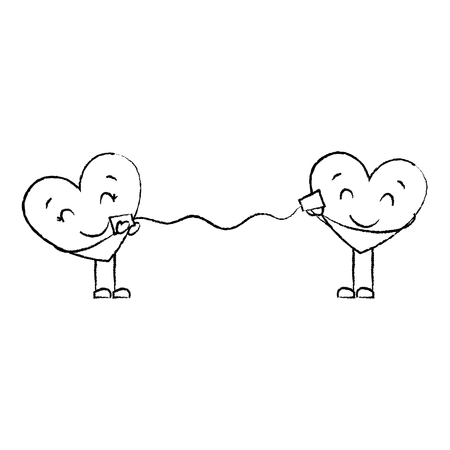 couple in love heart talking with cup romantic vector illustration sketch image