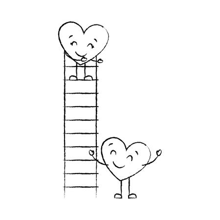 couple of hearts proposing love on a ladder vector illustration sketch image Illustration