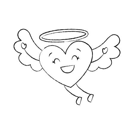 cute love heart flying wings romance vector illustration sketch image