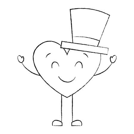 cute cartoon heart in love wearing top hat romantic vector illustration sketch image Illusztráció