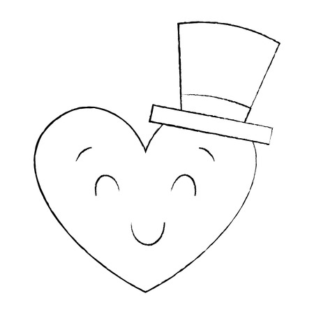 cute heart love with top hat cartoon vector illustration sketch image