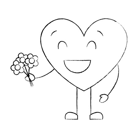 cute heart love holding bouquet flowers gift vector illustration sketch image