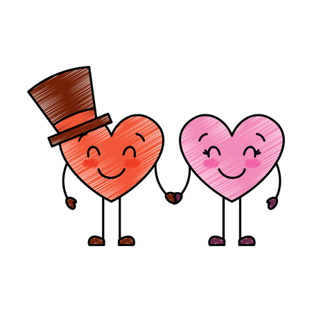couple in love heart male with hat happy female vector illustration drawing image