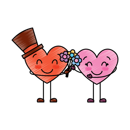 couple hearts love hoding bouquet flowers vector illustration drawing image Stock Vector - 95713544