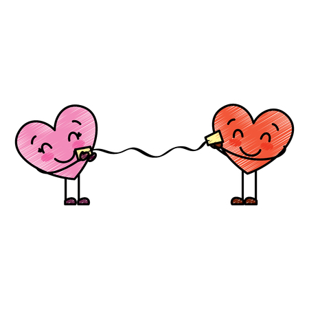 couple in love heart talking with cup romantic vector illustration drawing image