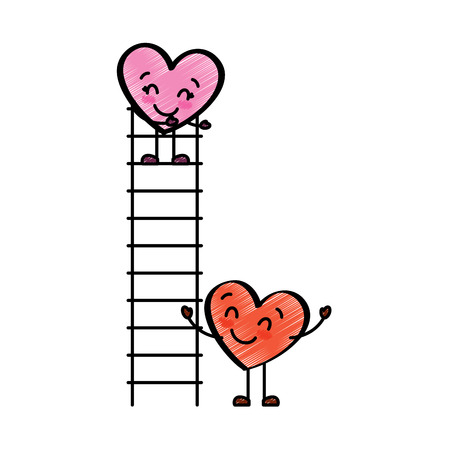 couple of hearts proposing love on a ladder vector illustration drawing image