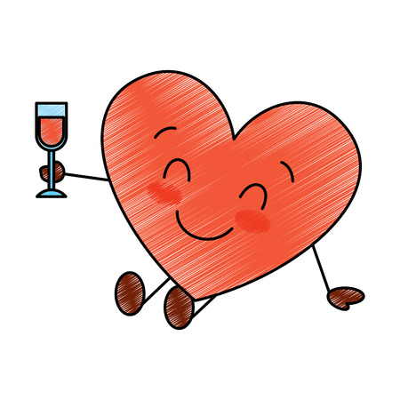 cute cartoon heart in love wearing top hat romantic vector illustration drawing image