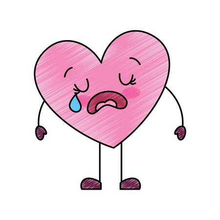 Cute dibujos animados corazón amor llorando triste personaje ilustración vectorial dibujo imagen Ilustración de vector
