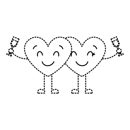 couple hearts cartoon with wine glass drink vector illustration dotted line image Illustration