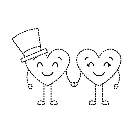 couple in love heart male with hat happy female vector illustration dotted line image Illustration
