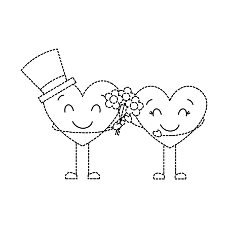 couple hearts love hoding bouquet flowers vector illustration dotted line image