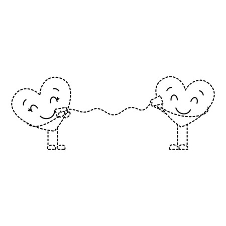 couple in love heart talking with cup romantic vector illustration dotted line image