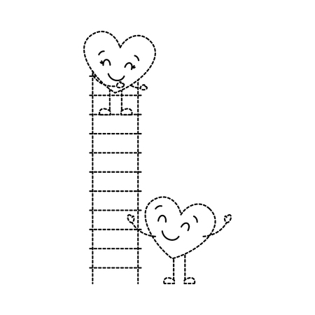 couple of hearts proposing love on a ladder vector illustration dotted line image