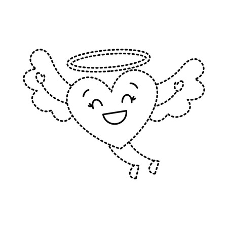 cute love heart flying wings romance vector illustration dotted line image