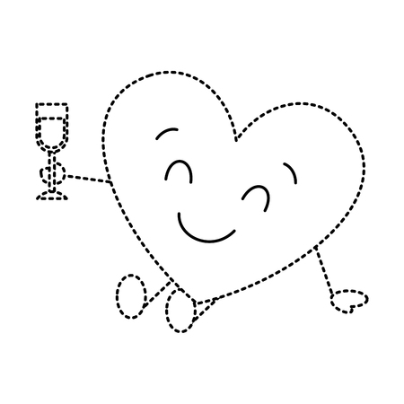 cute cartoon heart in love wearing top hat romantic vector illustration dotted line image