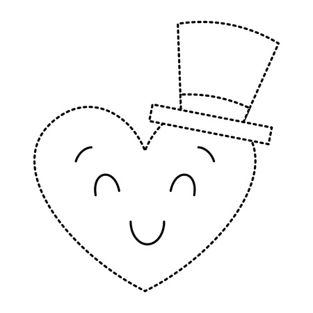 cute heart love with top hat cartoon vector illustration dotted line image