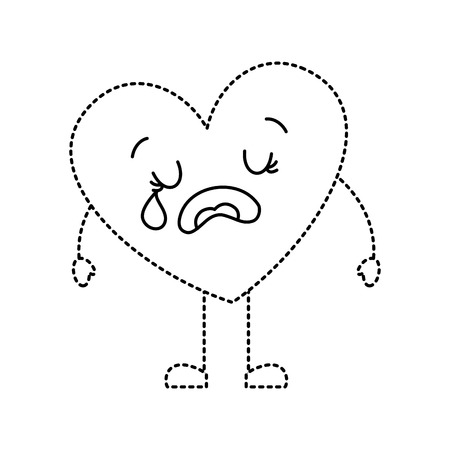 cute cartoon heart love crying sad character vector illustration dotted line image