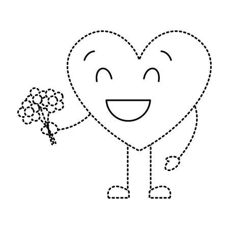 cute heart love holding bouquet flowers gift vector illustration dotted line image