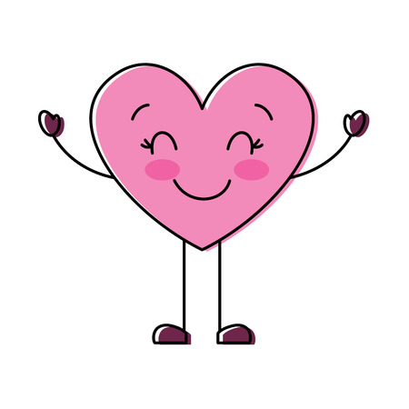 cute cartoon heart happy character vector illustration Illustration