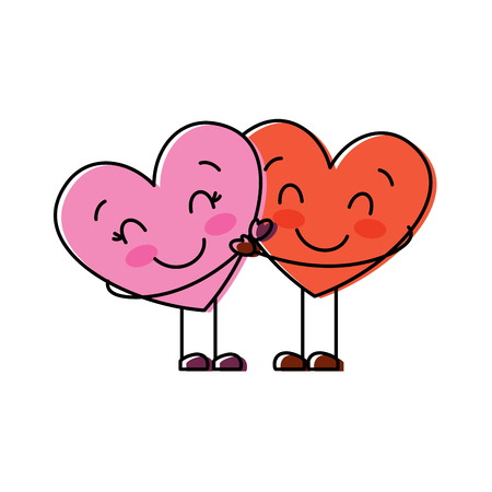 couple in love two cute hearts hugging romance vector illustration 矢量图像