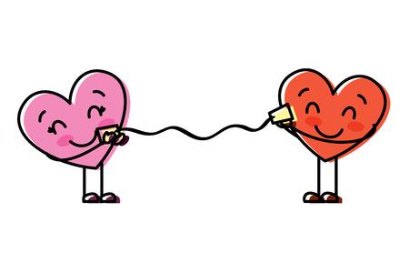 Coppia nel cuore di amore che parla con l'illustrazione romantica di vettore della tazza Archivio Fotografico - 95713732