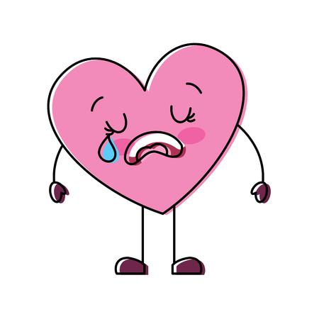 cute cartoon heart love crying sad character vector illustration