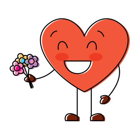 cute heart love holding bouquet flowers gift vector illustration Stock Illustratie
