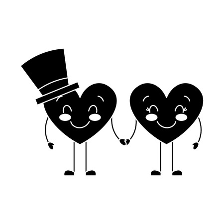 couple in love heart male with hat happy female vector illustration black and white image Illustration