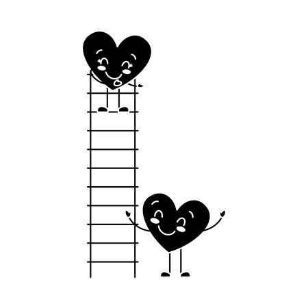 couple of hearts proposing love on a ladder vector illustration black and white image