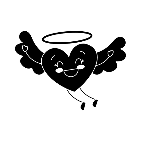 cute love heart flying wings romance vector illustration black and white image