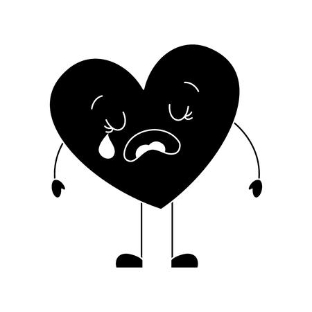 cute cartoon heart love crying sad character vector illustration black and white image Illustration