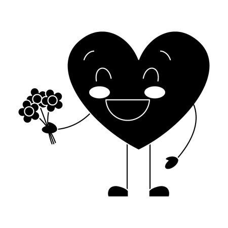 cute heart love holding bouquet flowers gift vector illustration black and white image