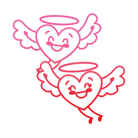 couple in love two happy hearts flying valentines day vector illustration degrade red line image