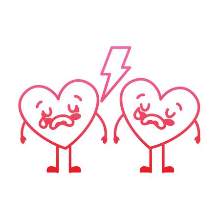 couple love heart cartoon broken crying vector illustration degrade red line image Illustration