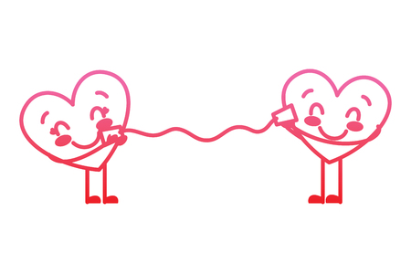 couple in love heart talking with cup romantic vector illustration degrade red line image