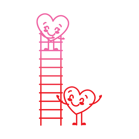 couple of hearts proposing love on a ladder vector illustration degrade red line image Illustration