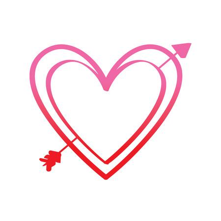 love heart pierced arrow valentine day romantic vector illustration degrade red line image