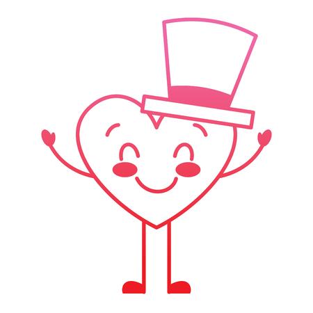 cute cartoon heart in love wearing top hat romantic vector illustration degrade red line image