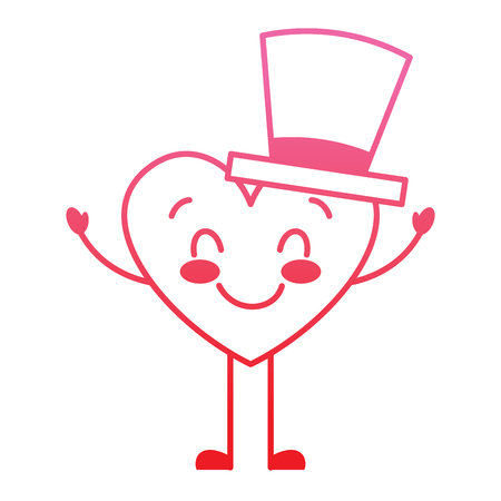 cute cartoon heart in love wearing top hat romantic vector illustration degrade red line image