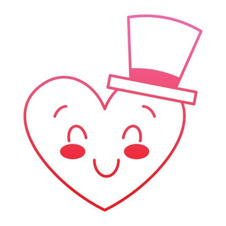 cute heart love with top hat cartoon vector illustration degrade red line image