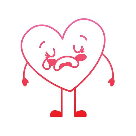 cute cartoon heart love crying sad character vector illustration degrade red line image Illustration