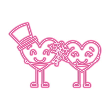 couple hearts love hoding bouquet flowers vector illustration neon pink line image