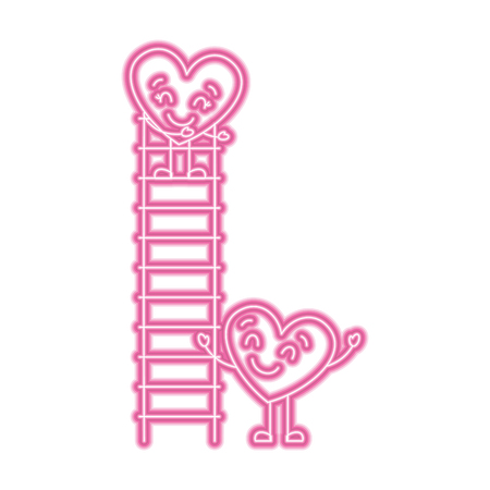 couple of hearts proposing love on a ladder vector illustration neon pink line image Illustration