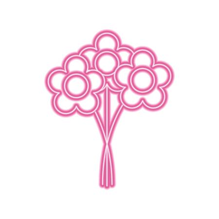 bouquet flowers romantic decoration natural vector illustration neon pink line image