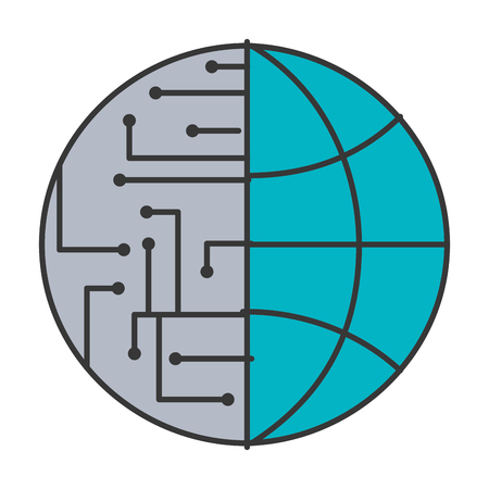 technology world globe network connection circuit vector illustration blue and gray  イラスト・ベクター素材