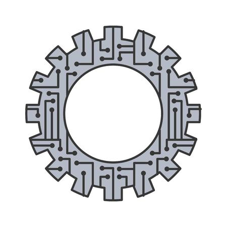 ギアホイールと回路基板デジタル技術とエンジニアリングデジタルベクトルイラスト