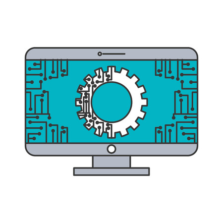 monitor computer with gear circuit connection technology vector illustration blue and gray