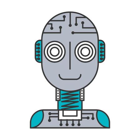 artificial intelligence robot machine technology futurist vector illustration blue and gray