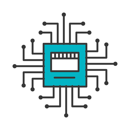 circuit board connection hardware processor vector illustration blue and gray Çizim
